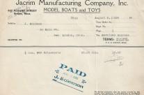 Invoice Jacrim August 6th 1928