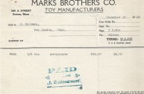 Invoice, Marks Brothers Co. Dec. 13th 1928