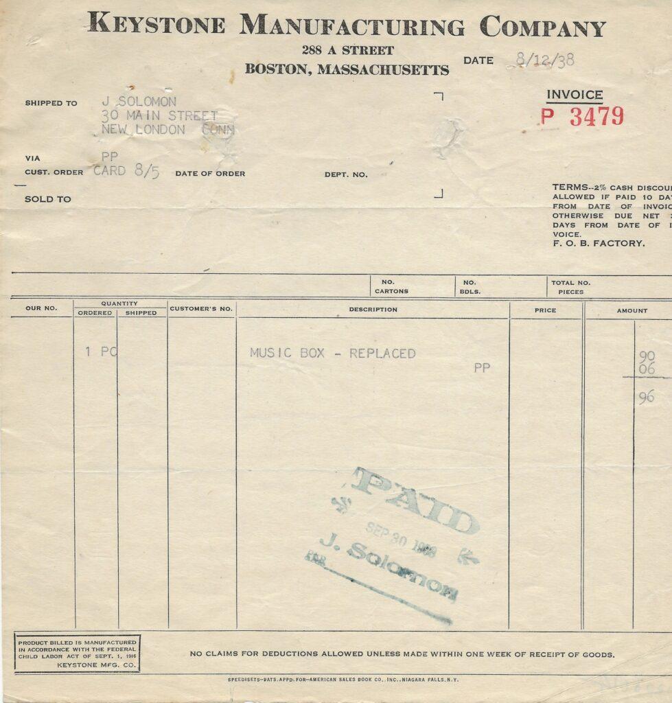 Keystone Receipt 1938